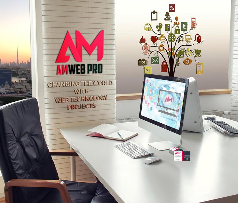 amweb pro logo on office wall - contact us page of www.amweb.pro